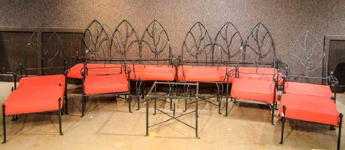 Set of Wrought-Iron Gothic-Back Outdoor Furniture