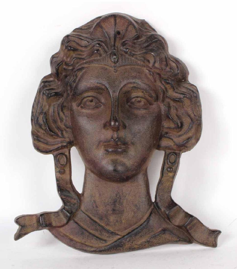 Cast Iron Bust of a Woman Wall Plaque