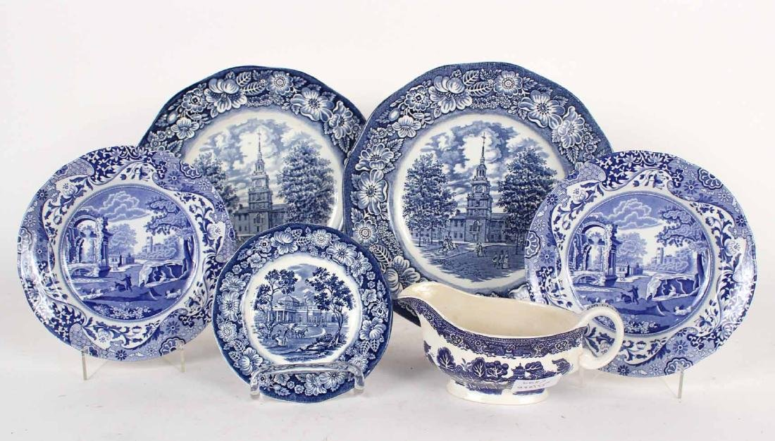 Liberty Blue Historic Colonial Scenes Plates