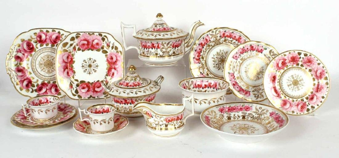 Rose-and-Gilt Decorated Porcelain Dinner Service