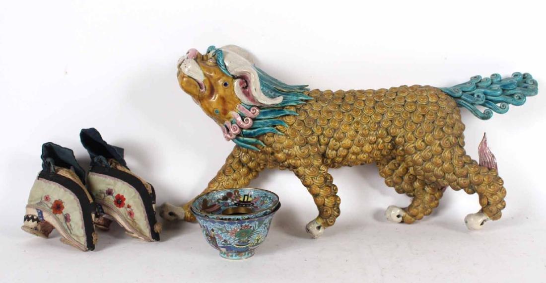 Chinese Glazed Ceramic Foo Dog Roof Tile
