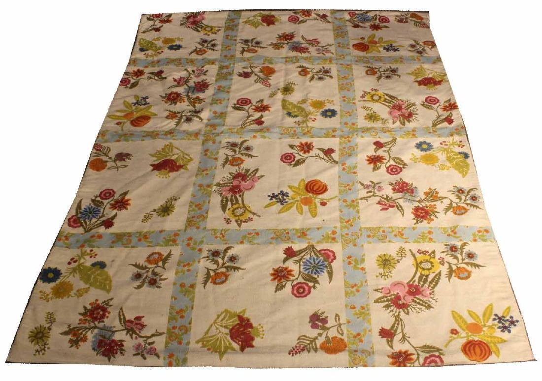 Floral-Decorated Cotton Carpet