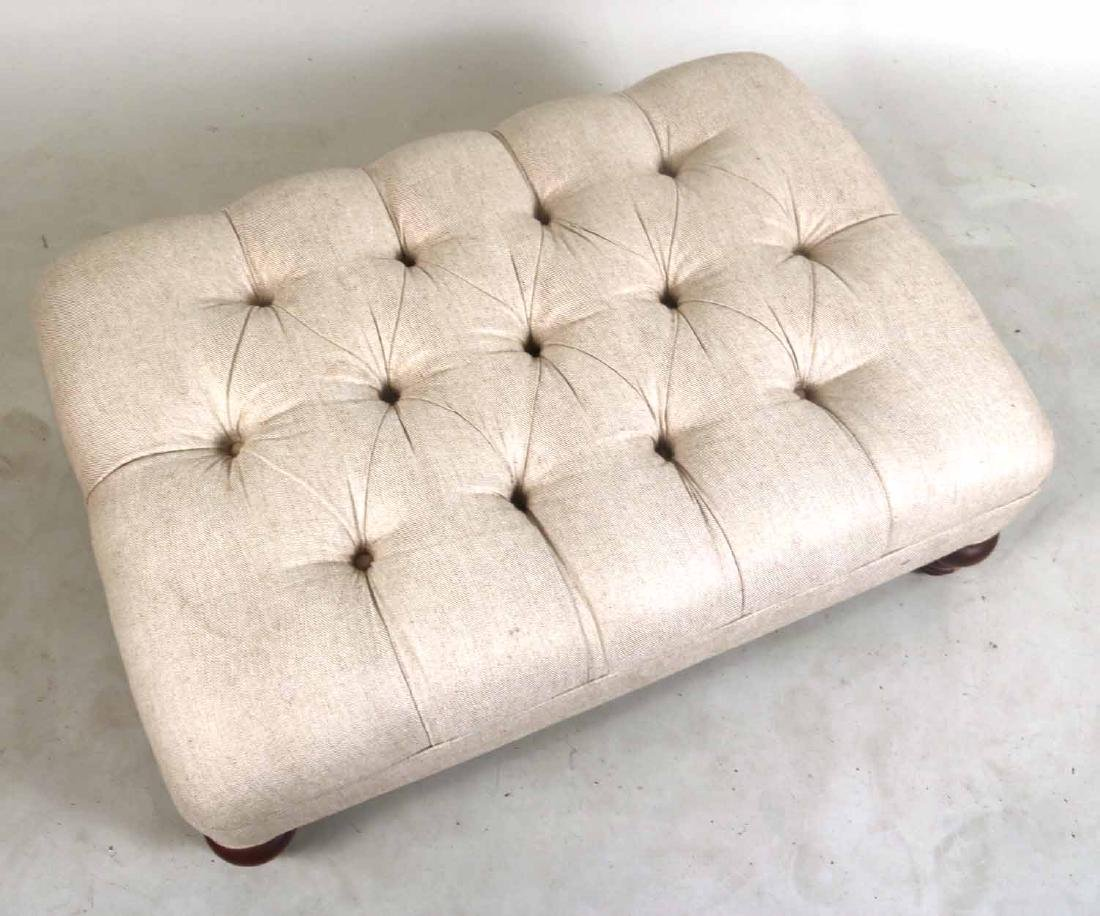 Contemporary Beige-Upholstered Ottoman - 2