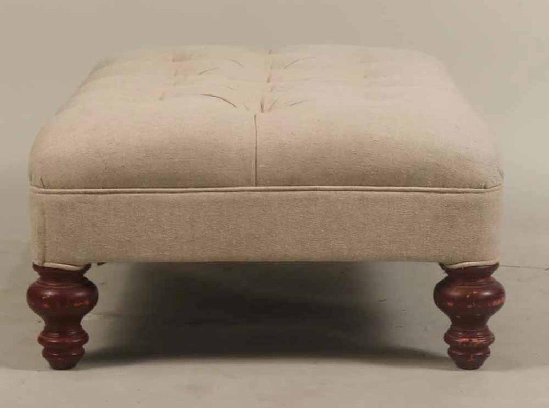 Contemporary Beige-Upholstered Ottoman - 4