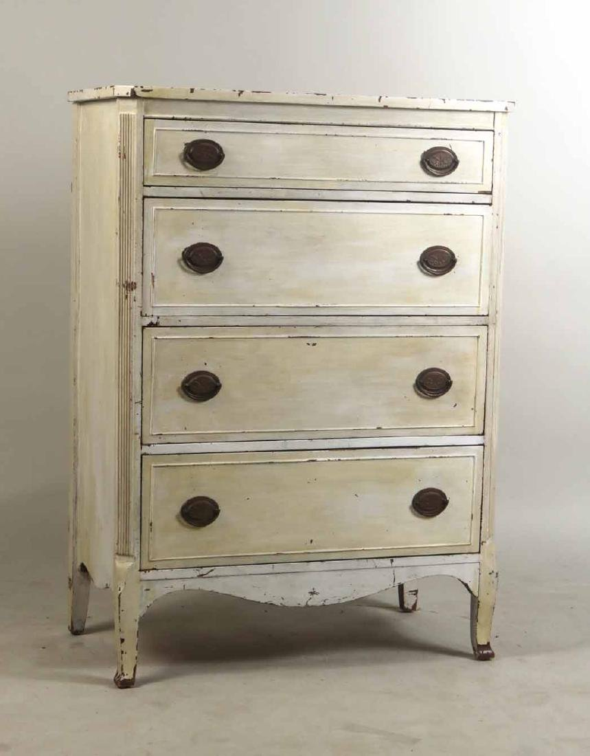 White-Painted Tall Chest of Drawers
