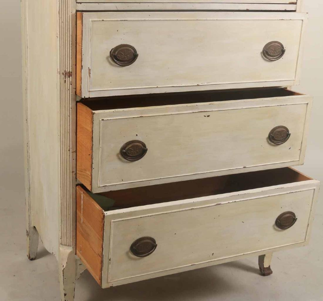 White-Painted Tall Chest of Drawers - 2
