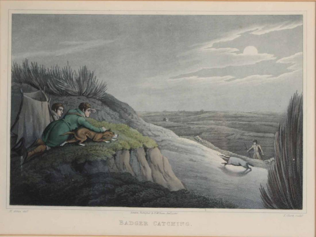"Etching, ""Badger Catching,"" After Henry Alken - 2"