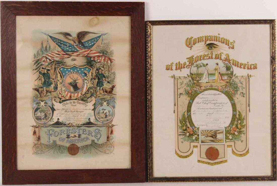 Two Certificates for The Forester of America