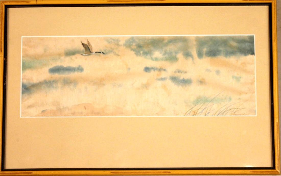 Watercolor on Paper, Flying Canadian Goose
