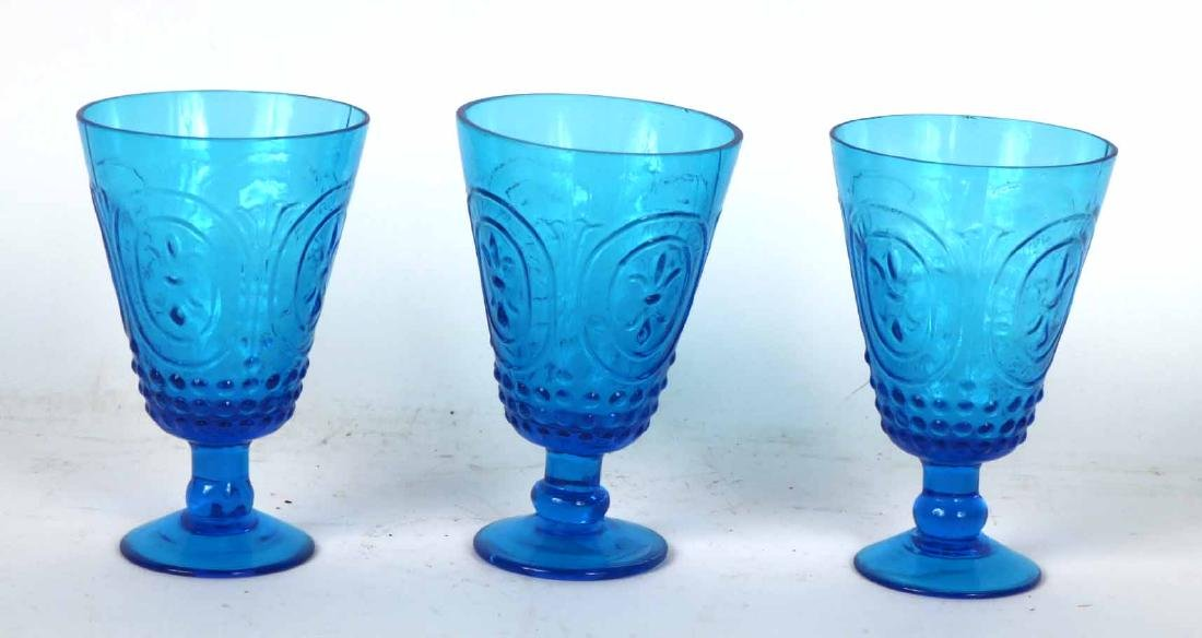 Fifteen Turquoise Glass Goblets