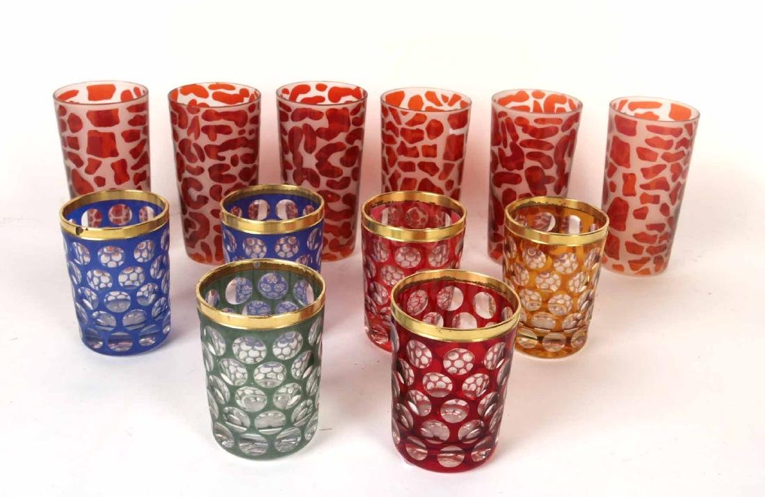 Six Color to Clear Gilt Rimmed Tumbler Glasses