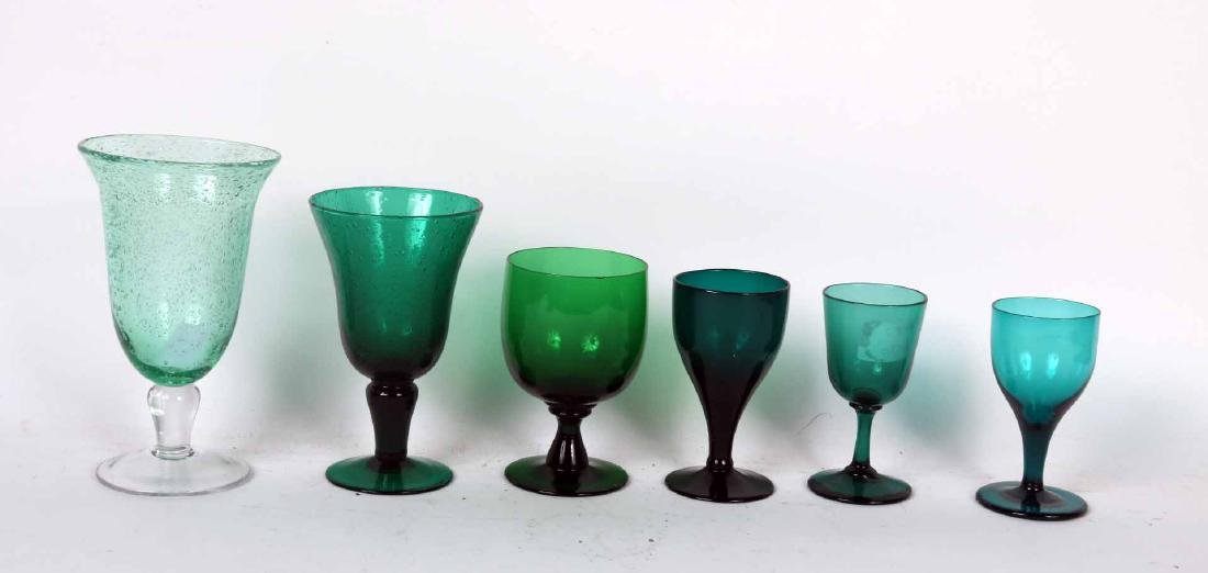 Group of Green Glass Goblets and Wine Glasses