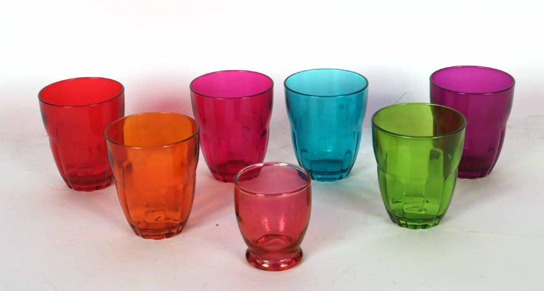 Eighteen Assorted Color Bormioli Rocco Glasses