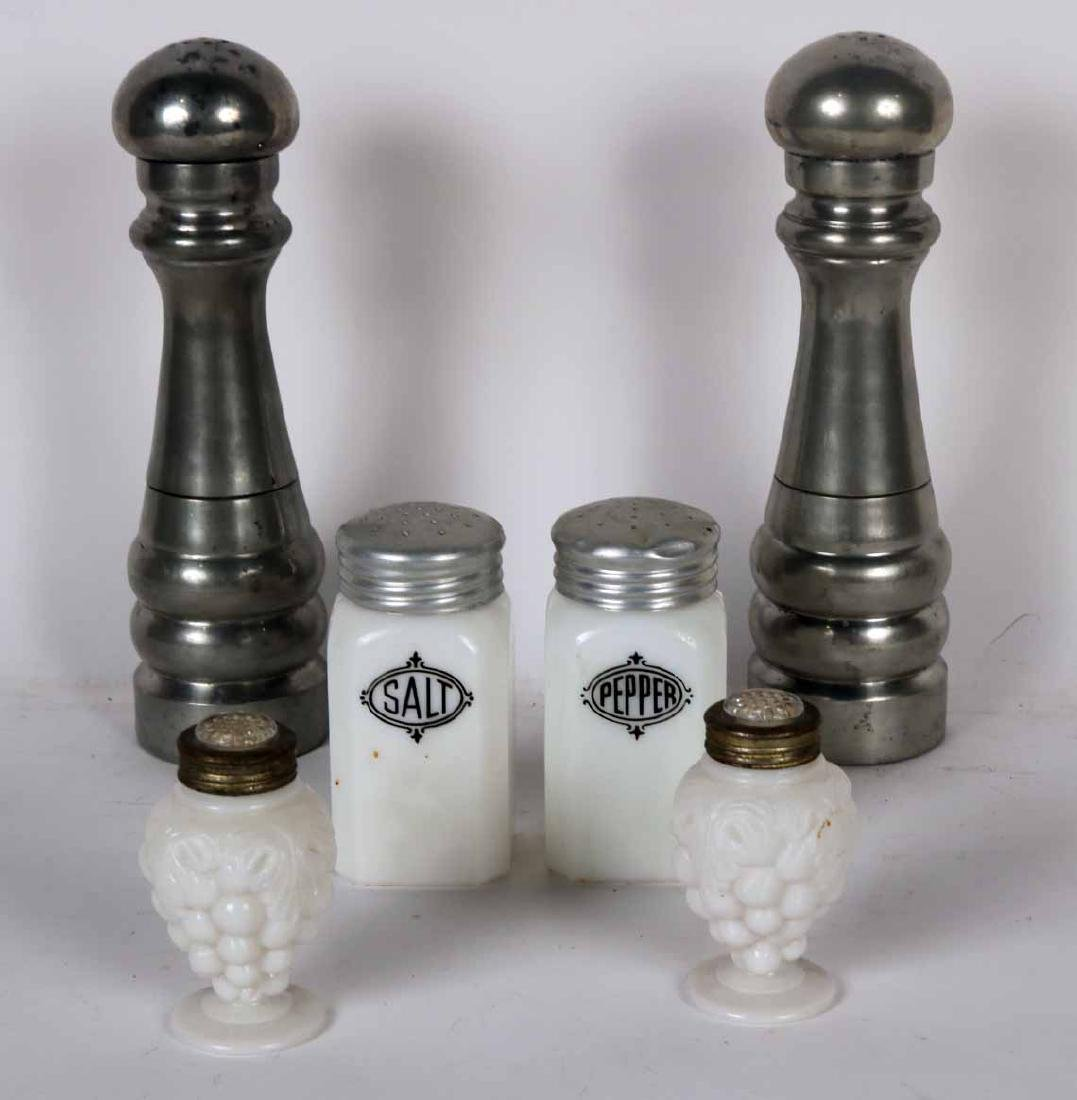 Two Pairs of Milk Glass Salt and Pepper Shakers