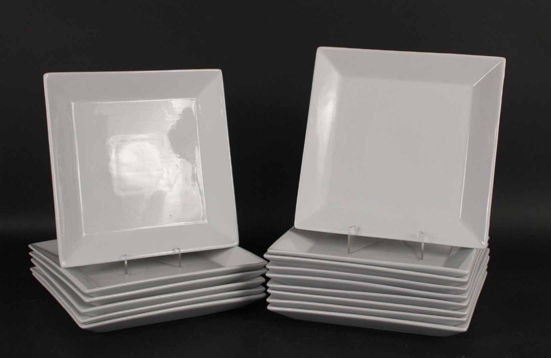 Fifteen Square White Ceramic Plates