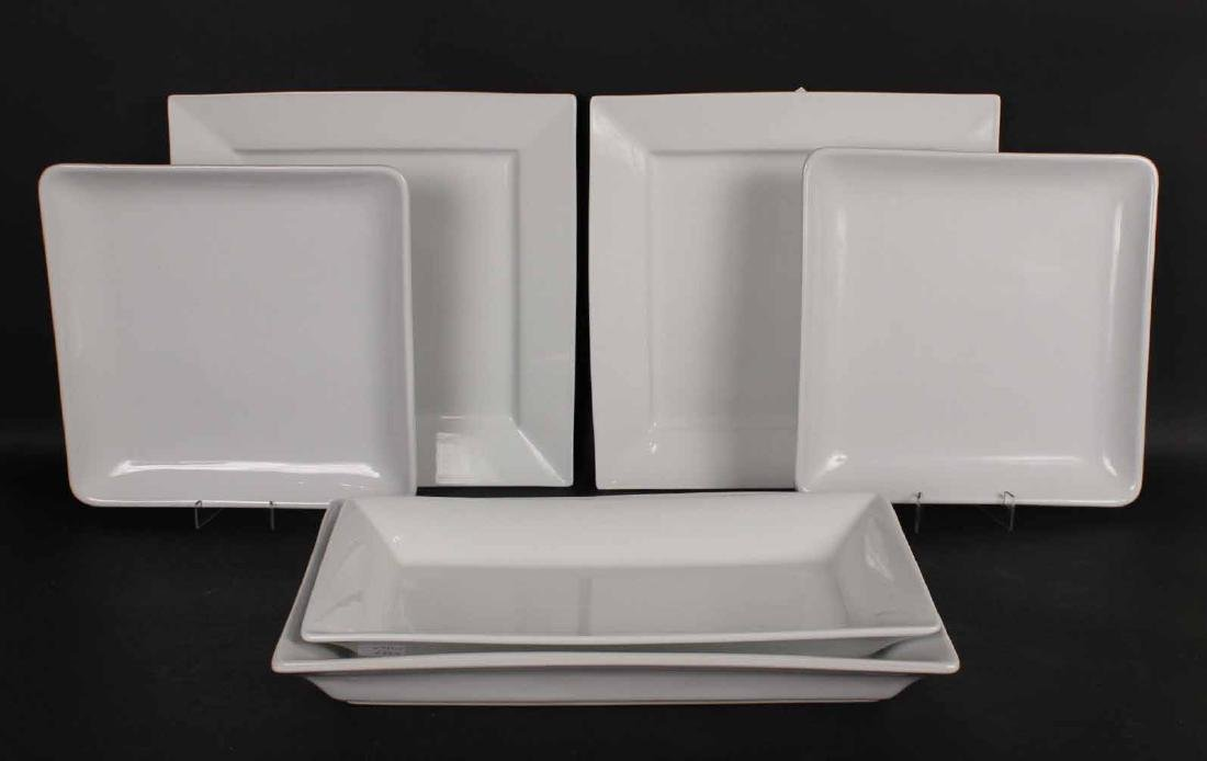Six White Ceramic Serving Platters