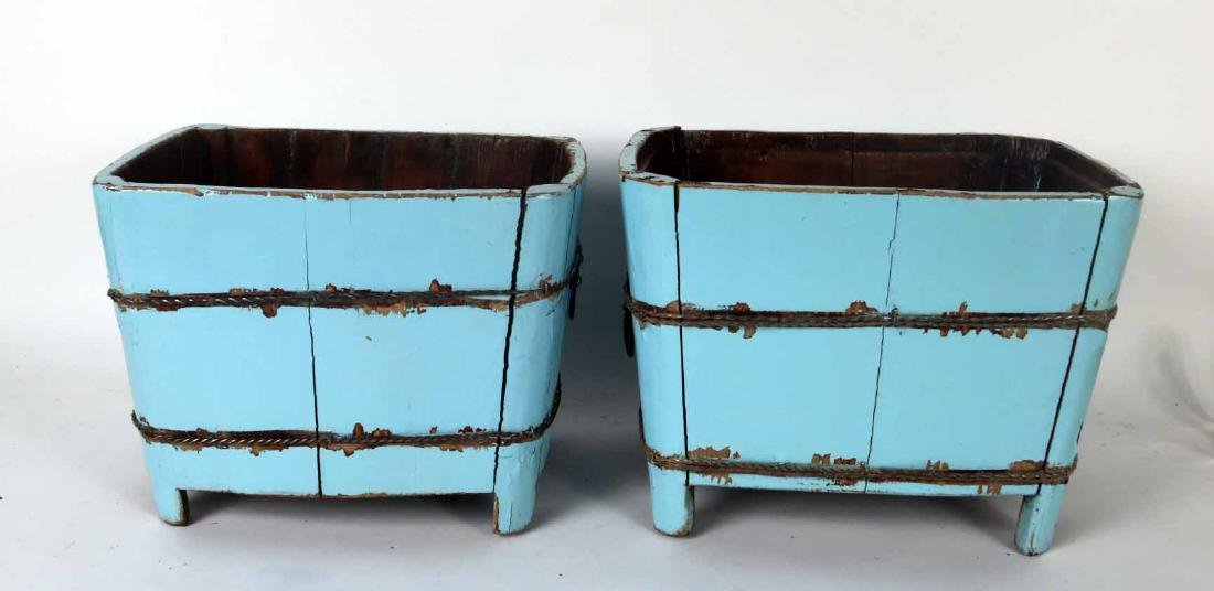 Pair of Blue-Painted Wood Planters