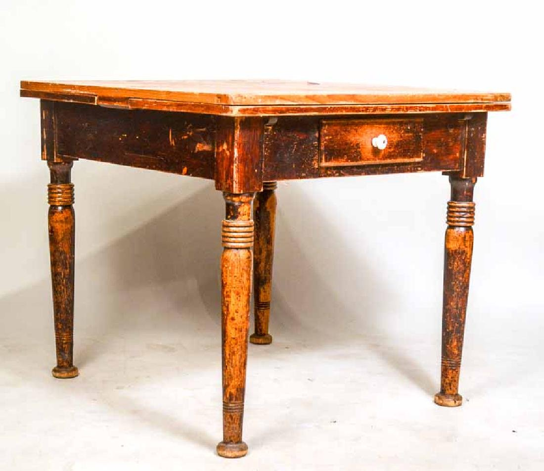 Stained Pine Draw-Leaf Center Table