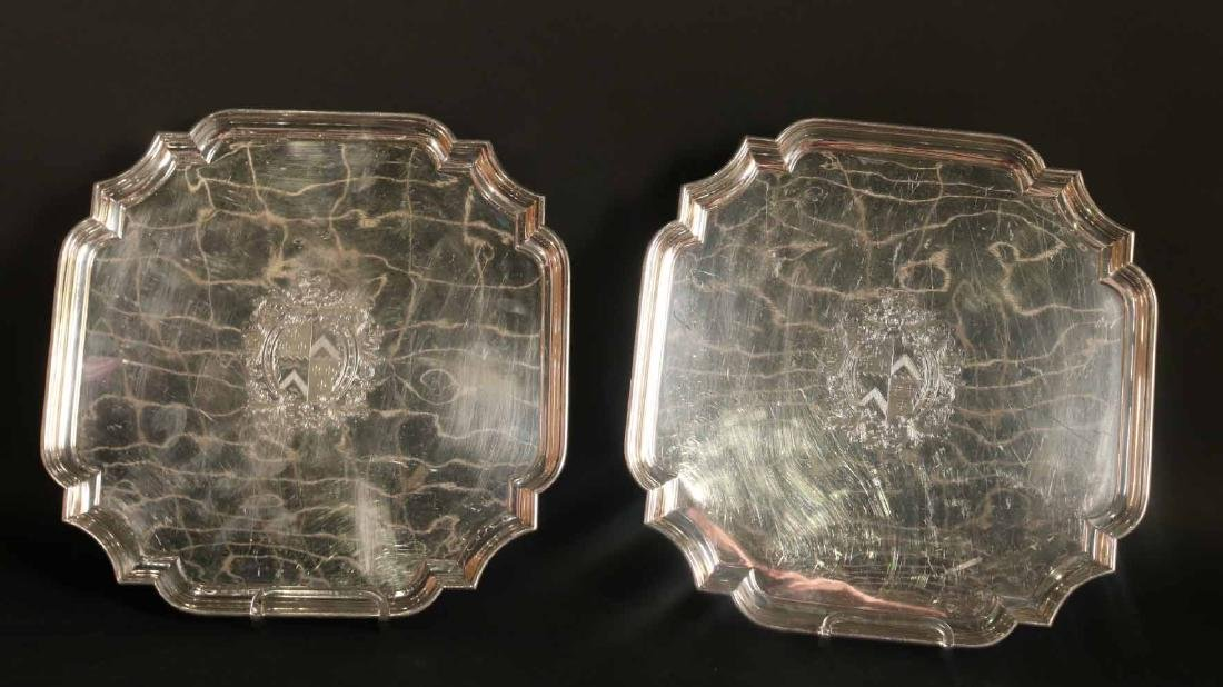 Pair of English Silver on Copper Trays