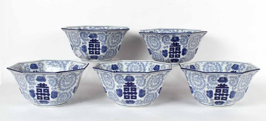Five Chinese Octagonal Porcelain Bowls