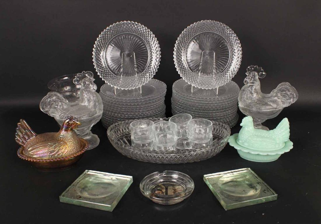 Four Glass Rooster Covered Dishes