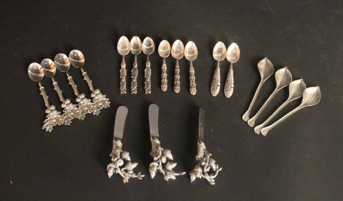 Silvered Metal Organic Form Utensils