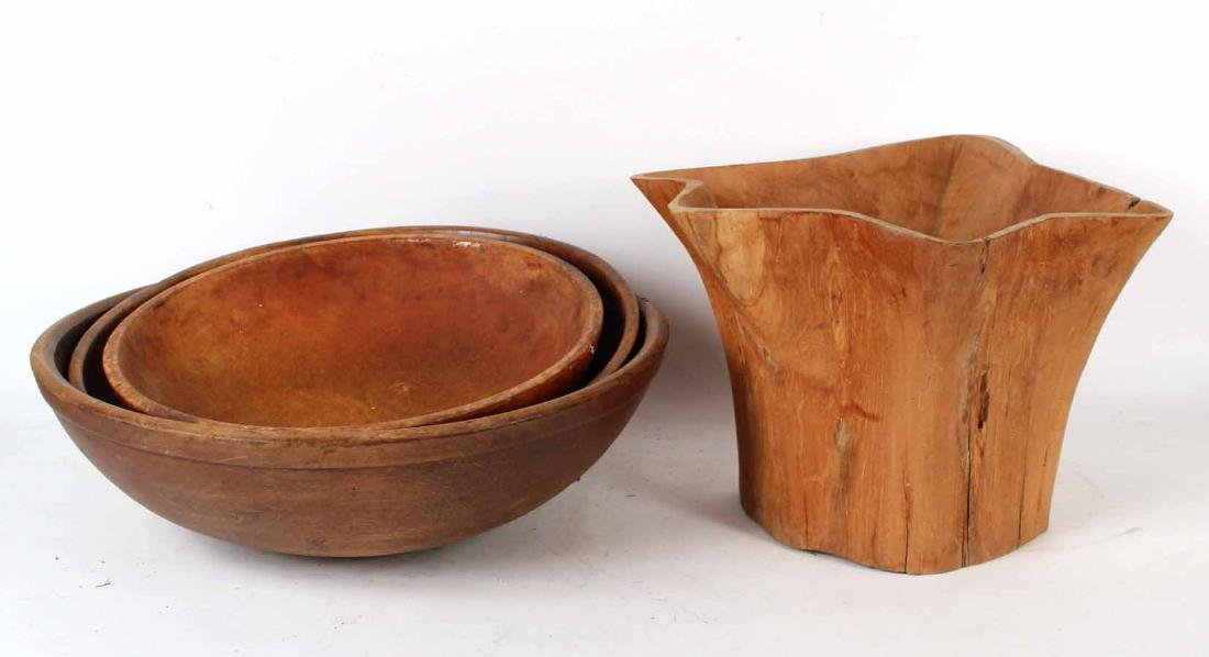 Three Decorative Wood Bowls