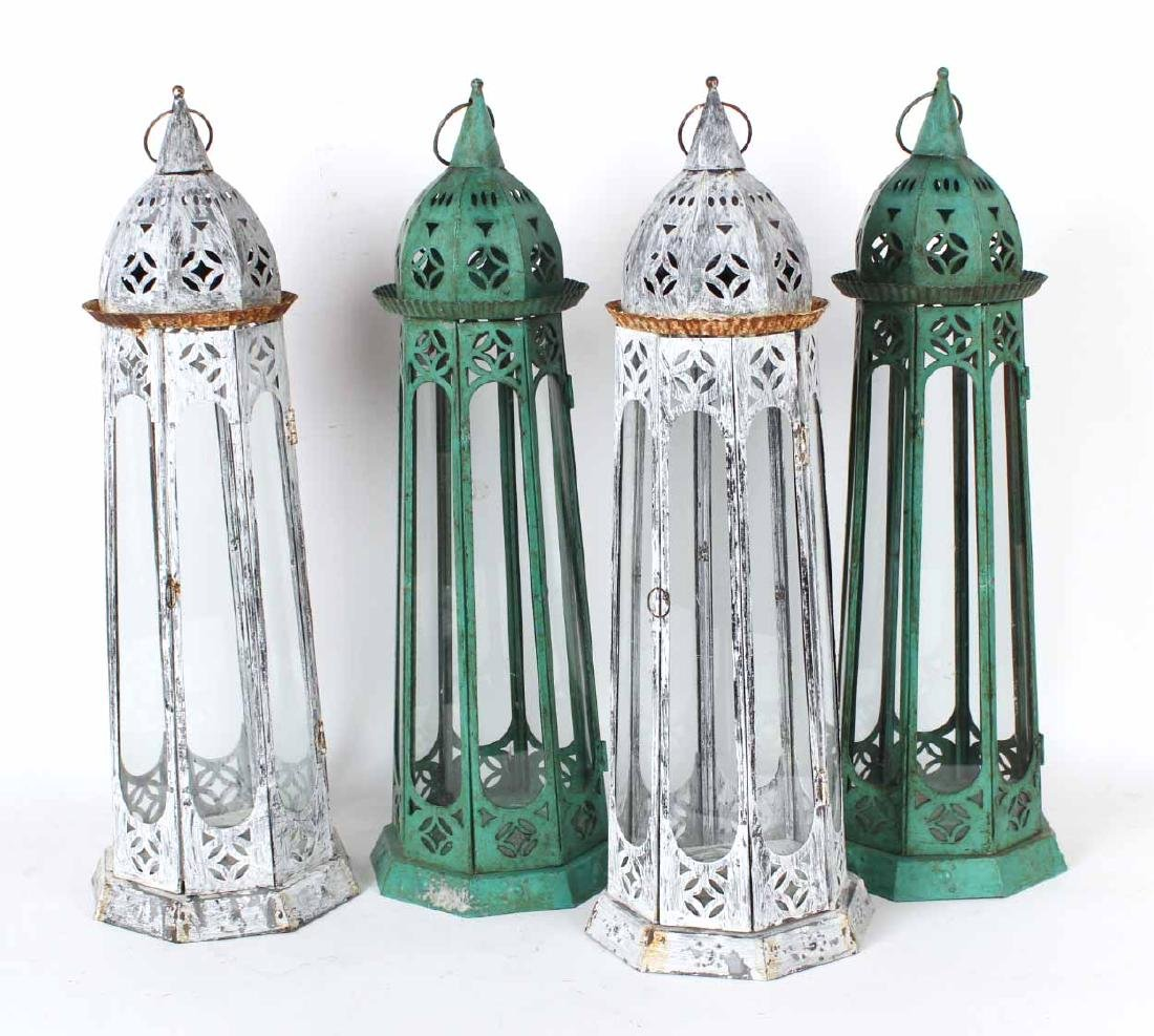 Four Painted Tole Hanging Lanterns