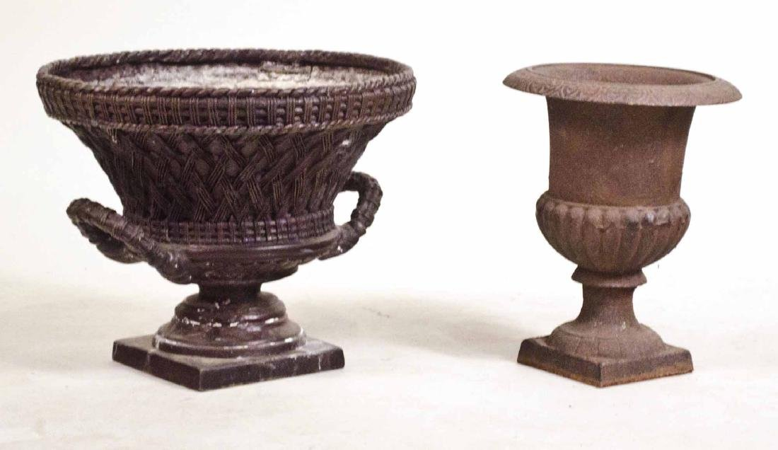 Two Cast-Iron Urn-Form Planters