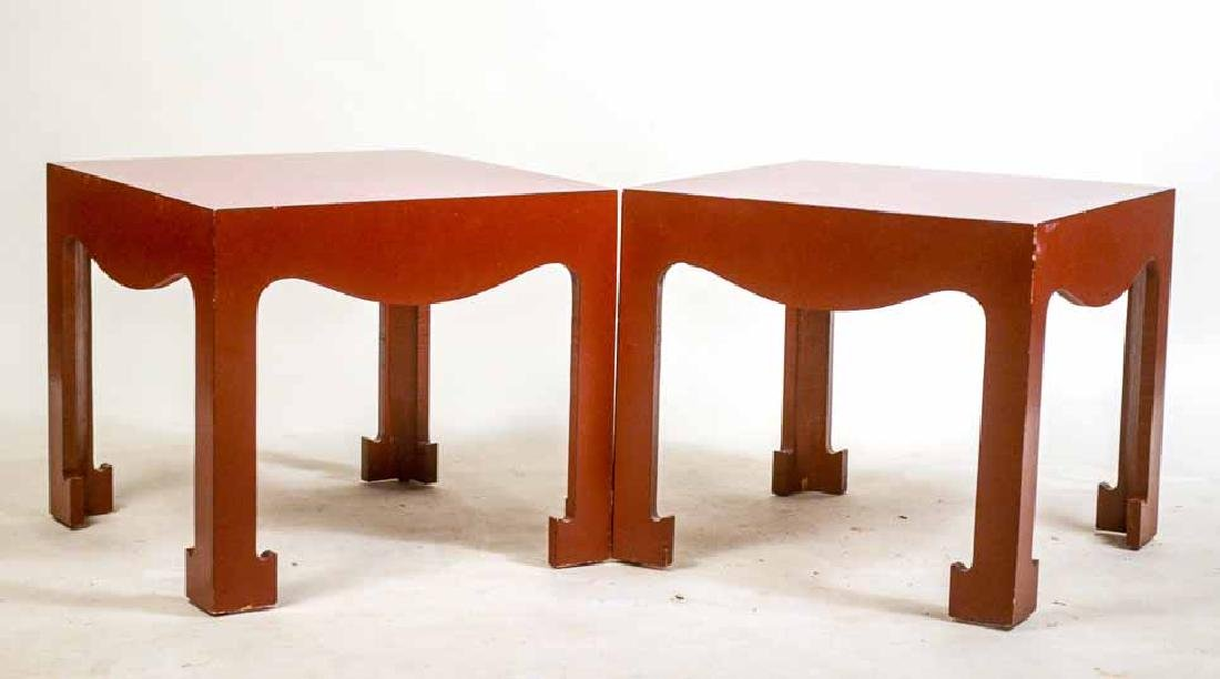 Pair of Modern Red-Painted Side Tables
