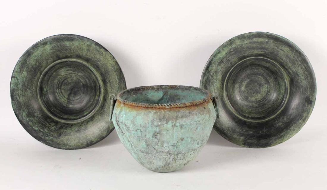 Pair of Patinated Metal Shallow Bowls