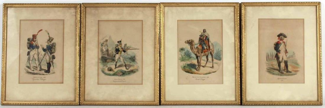 Four Hand-Colored Prints of French Soldiers