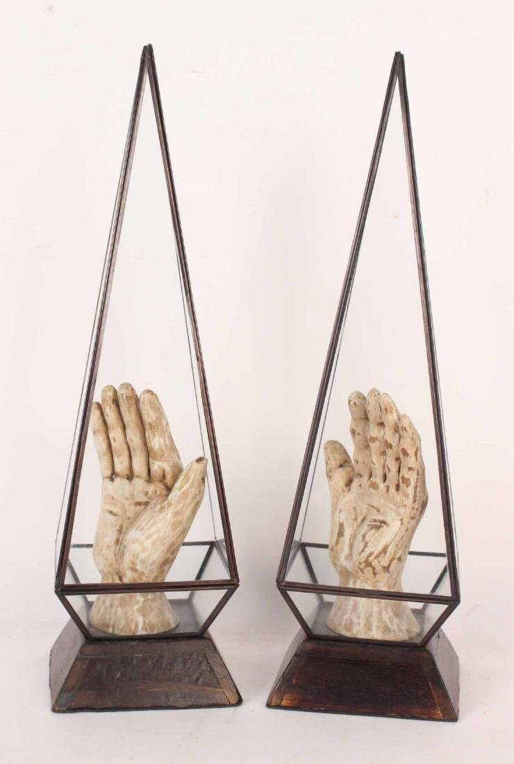 Pair of White-Painted Carved Wood Hands