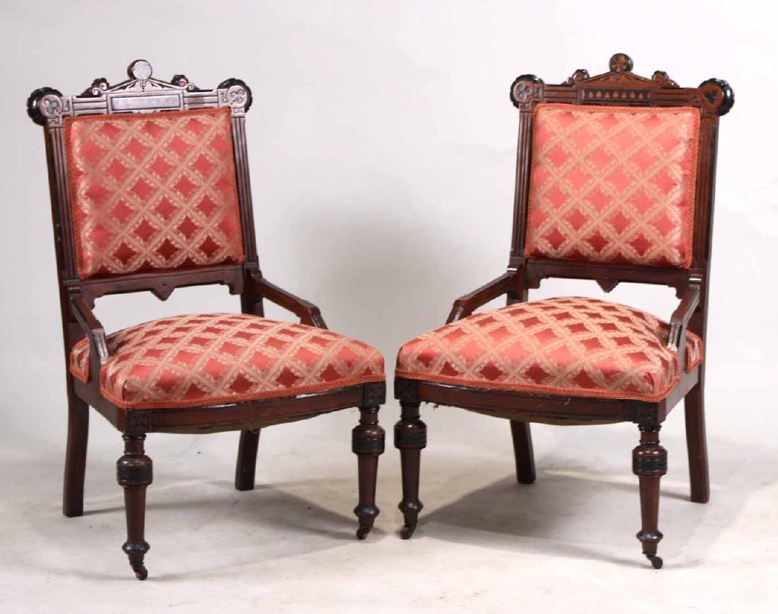 Pair of Victorian Mahogany Parlor Chairs
