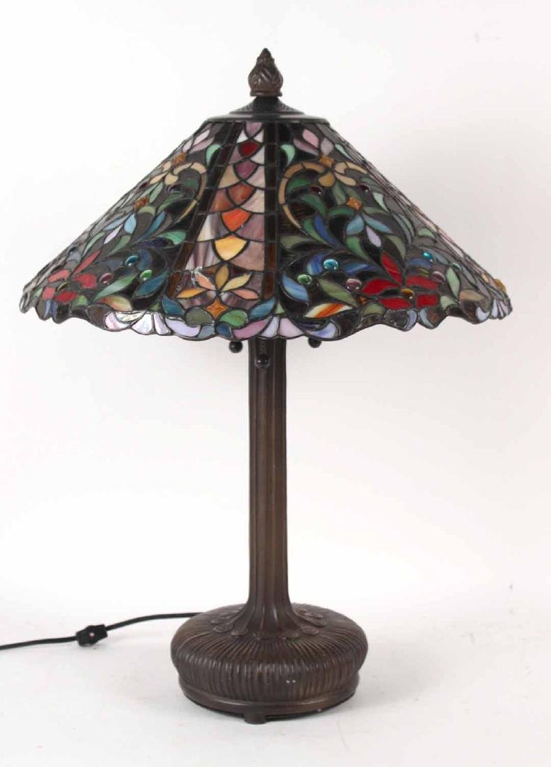Art Nouveau Style Stained Glass Table Lamp