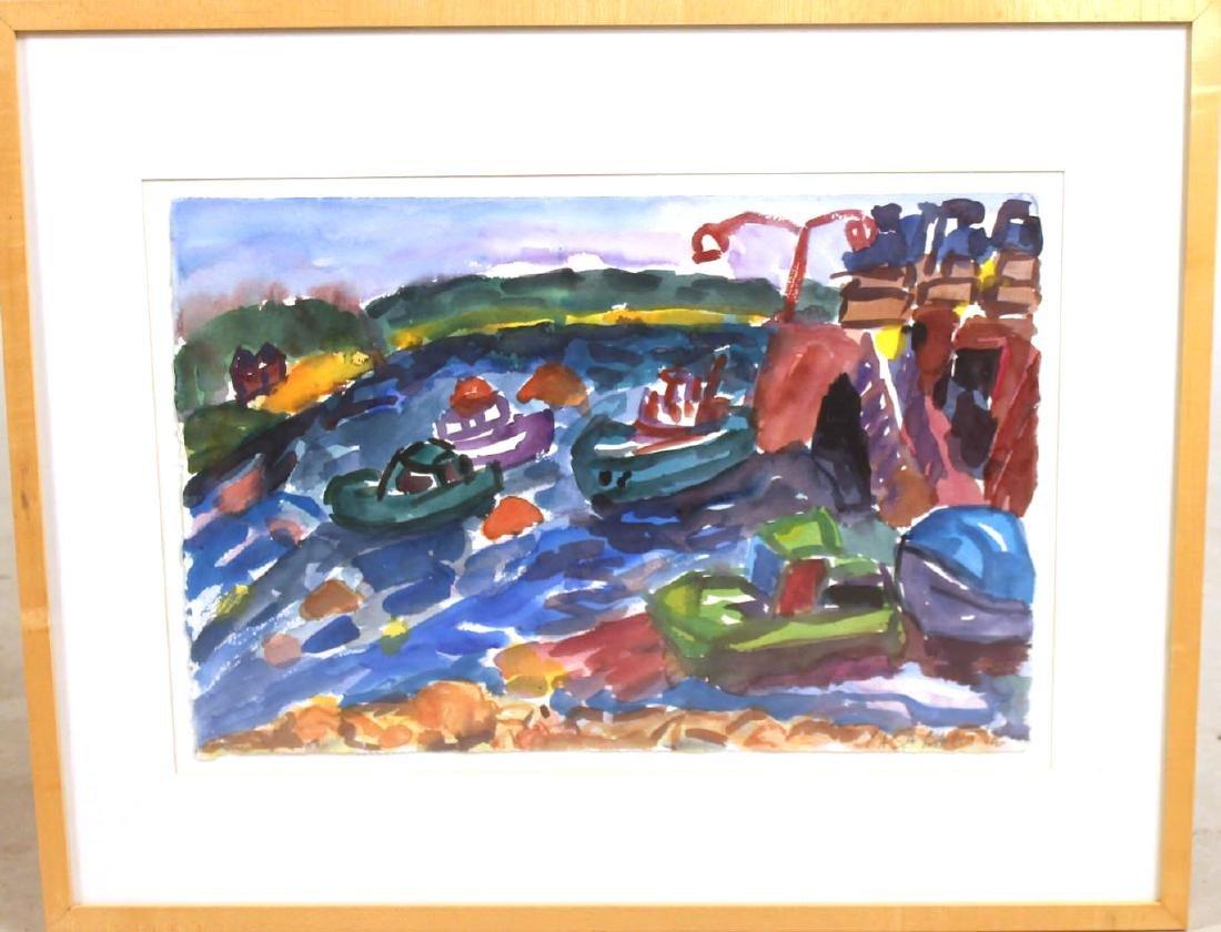 Watercolor on Paper, Harbor Scene, Casa Bacot