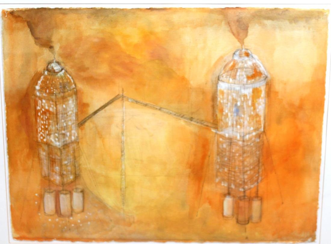 Watercolor on Paper, Architectural Abstract - 2