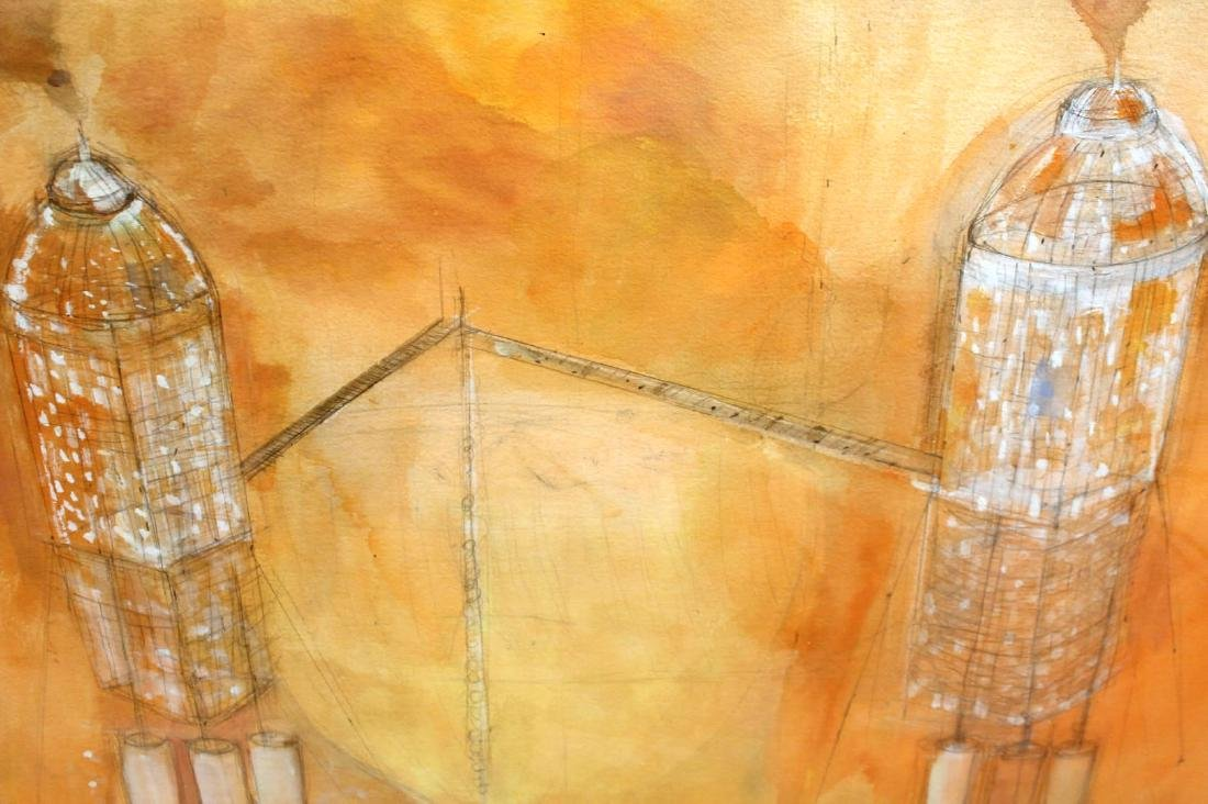Watercolor on Paper, Architectural Abstract - 6
