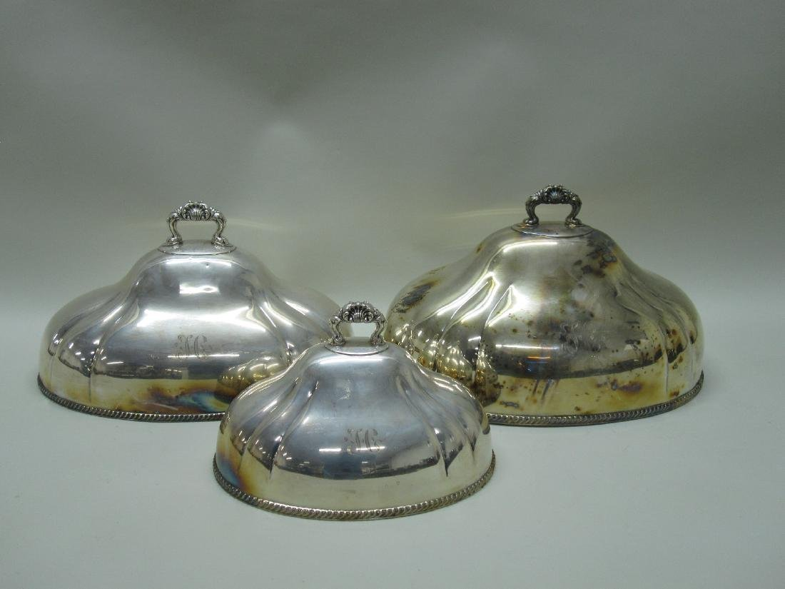 SET OF THREE SILVER PLATE MEAT DISH COVERS