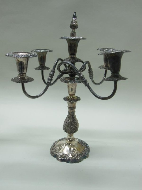 PAIR OF 5 LIGHT SILVER PLATED CANDELABRUM - 2