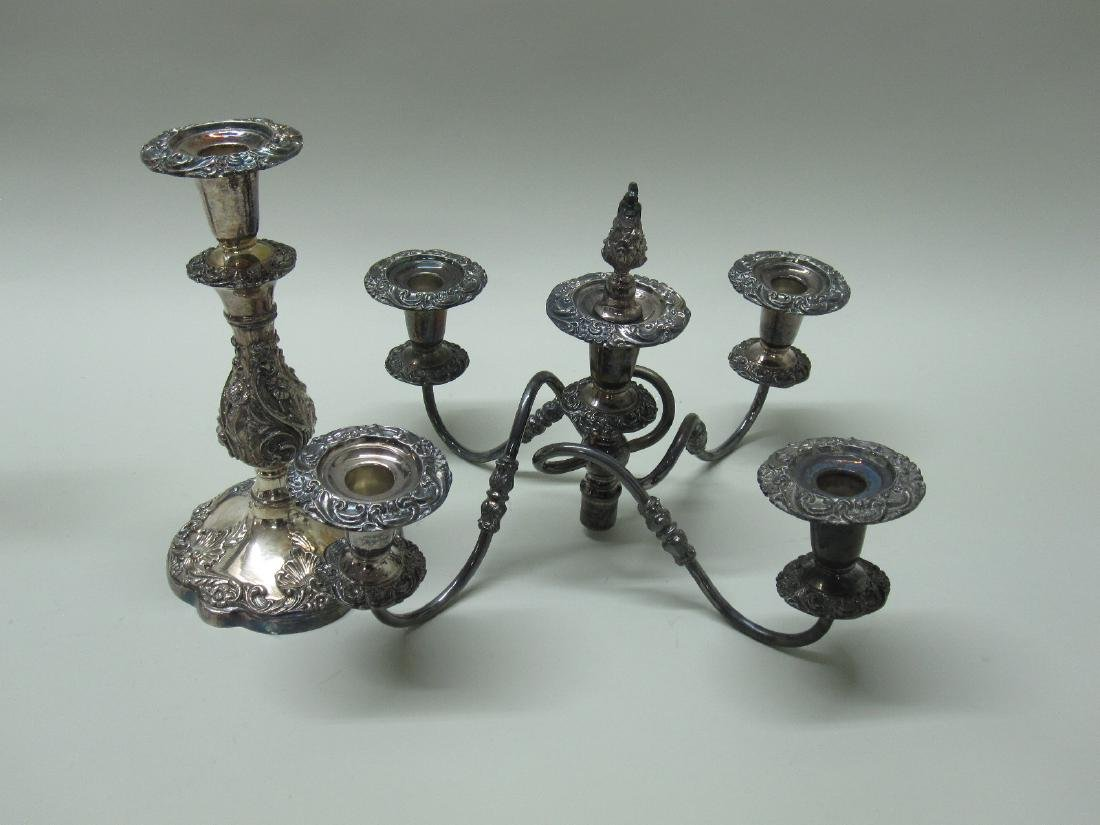 PAIR OF 5 LIGHT SILVER PLATED CANDELABRUM - 3