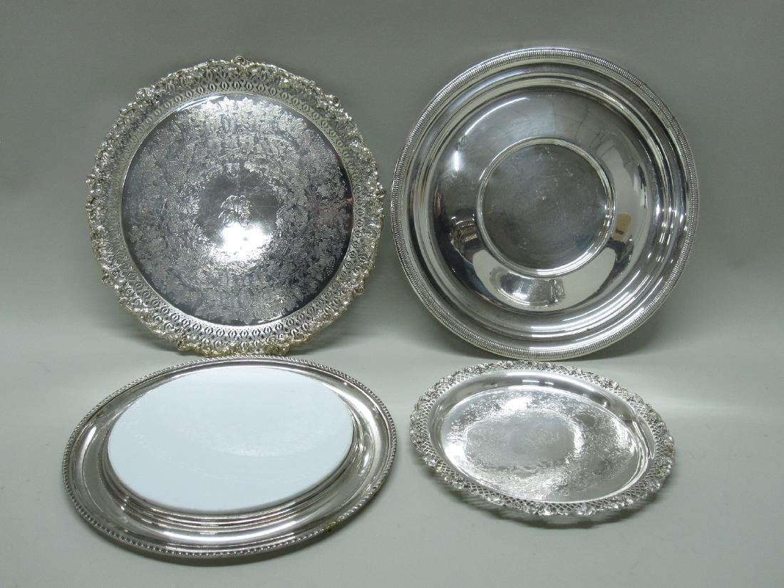 GROUP OF FOUR SILVER PLATED SERVING TRAYS