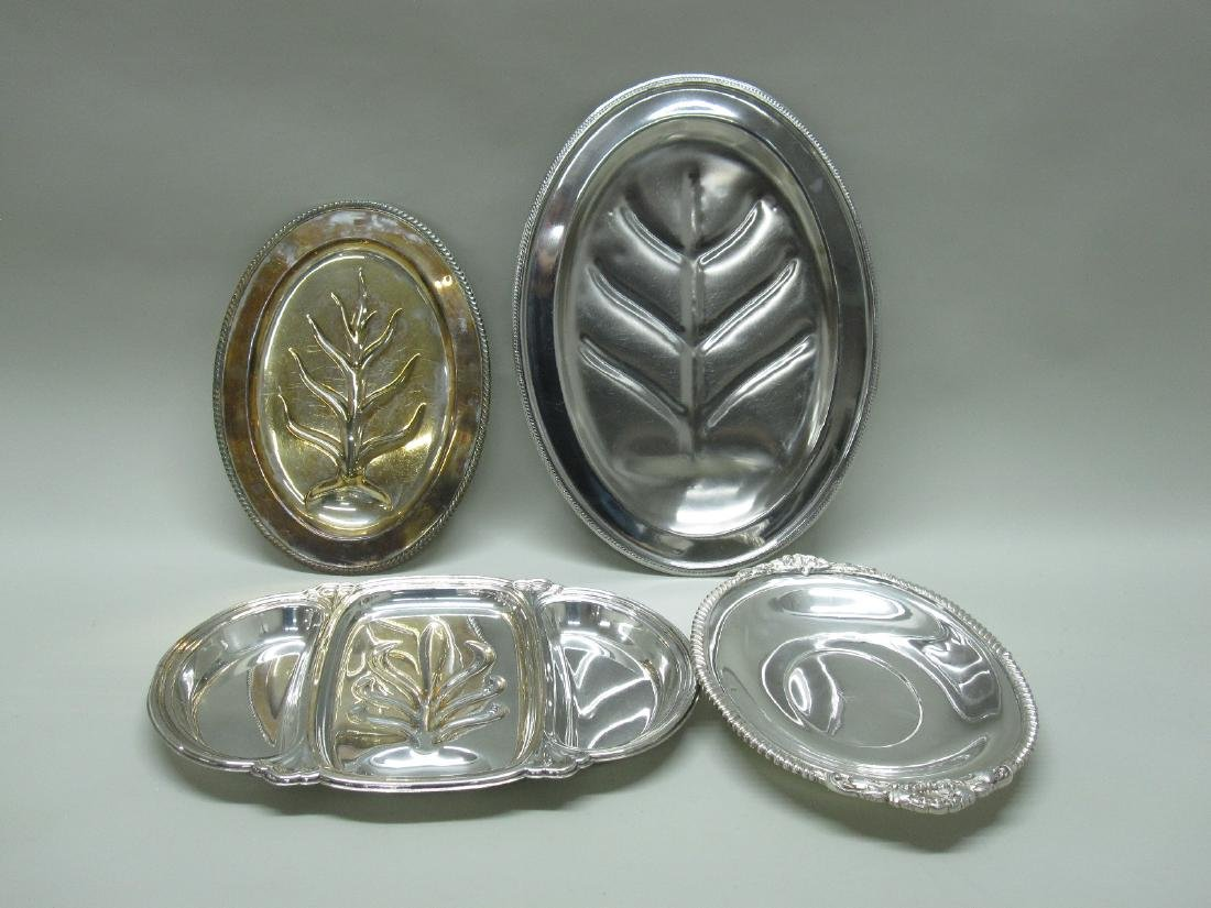 2 SILVER PLATED WELL AND TREE PLATTERS