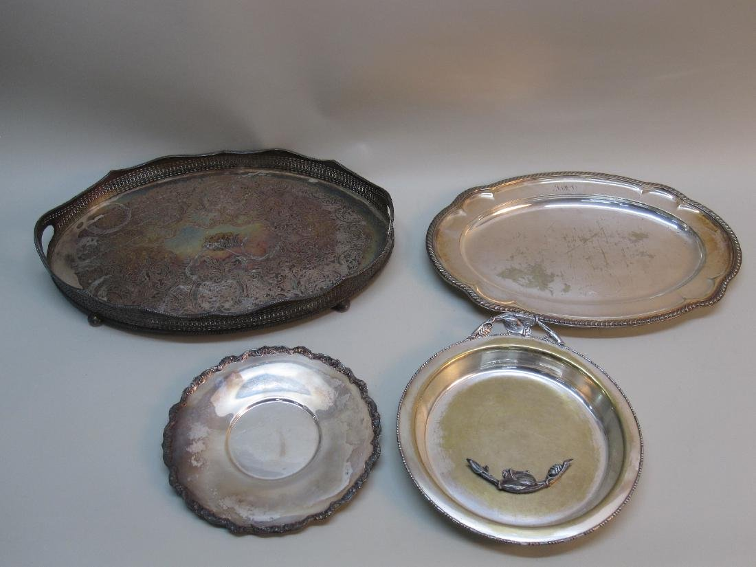 4 ASSORTED SILVER PLATED SERVING TRAYS