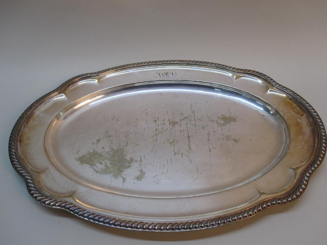 4 ASSORTED SILVER PLATED SERVING TRAYS - 6