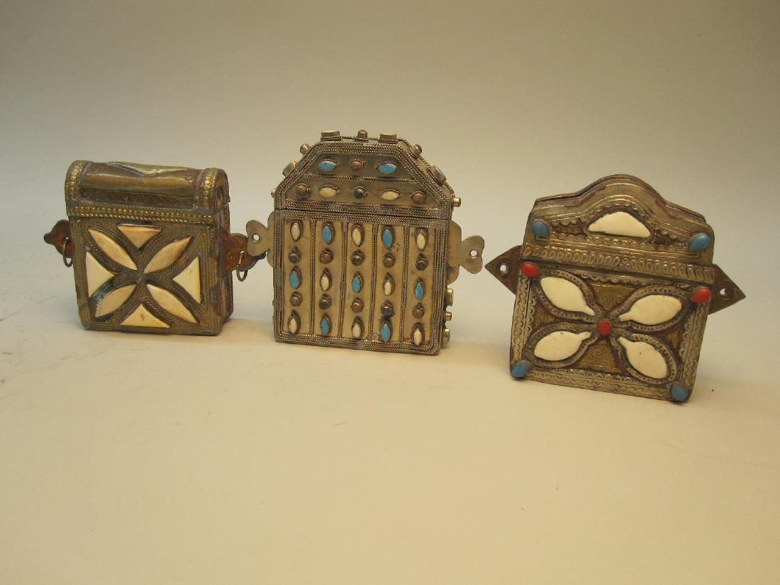 THREE HARDSTONE INSET METAL TRAVELING BOXES