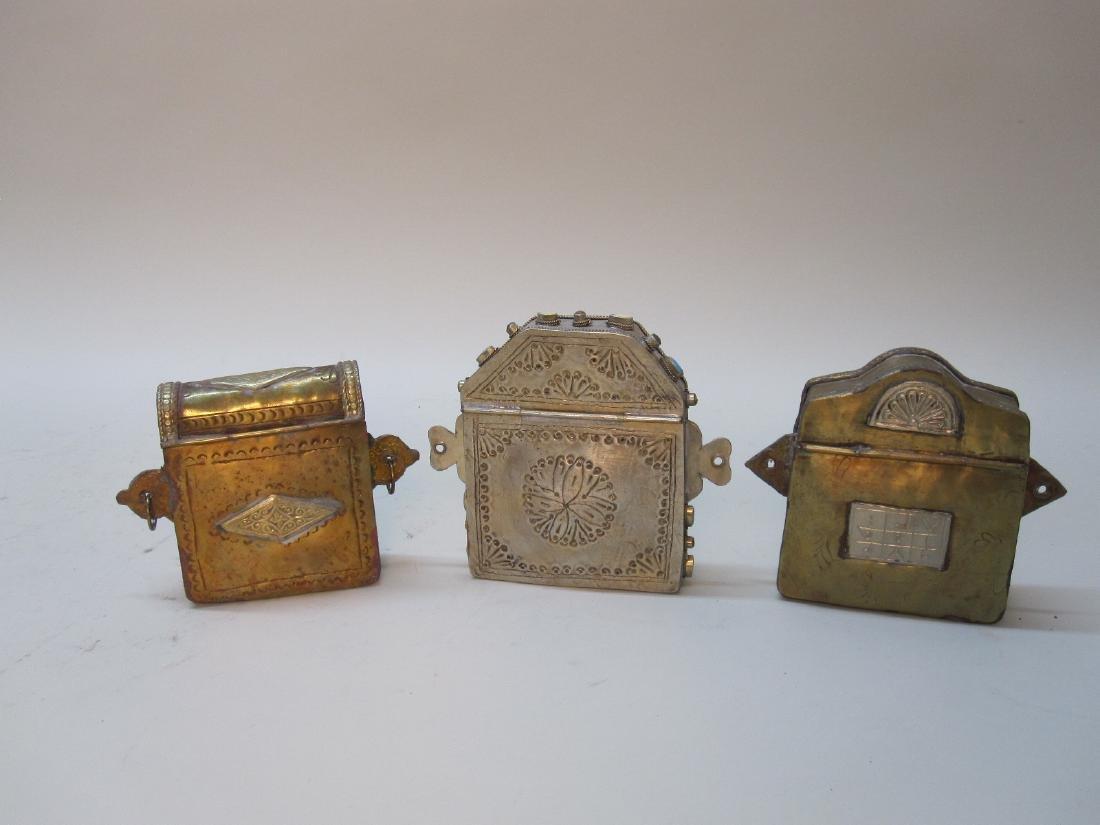 THREE HARDSTONE INSET METAL TRAVELING BOXES - 5