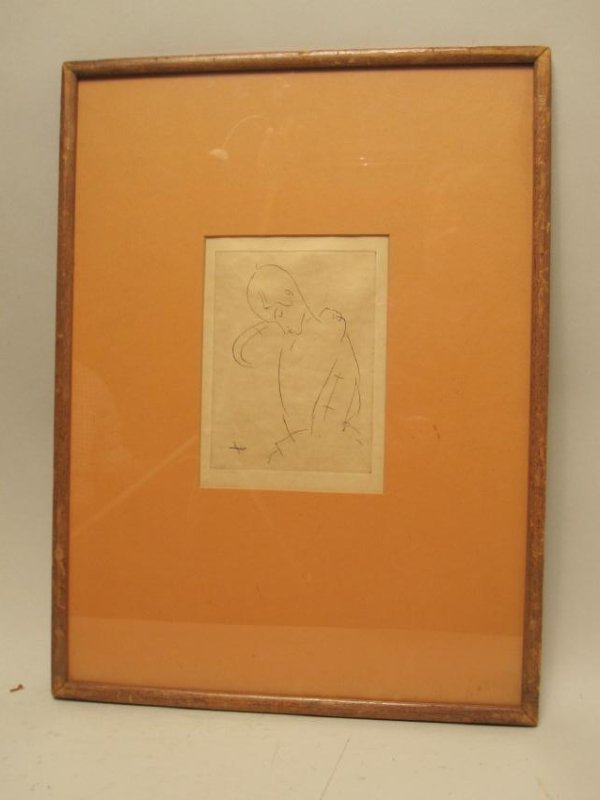 A. MODIGLIANI PRINT OF FEMALE FIGURE - 2