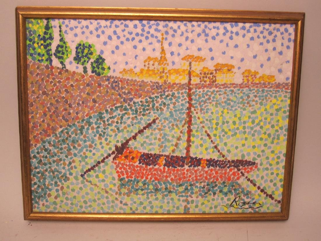 POINTILLIST PAINTING OF SAILBOAT