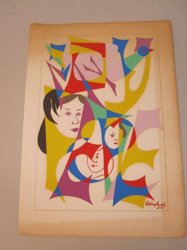 COLORED TEMPERA ON PAPER SIGNED CHAIM GROSS